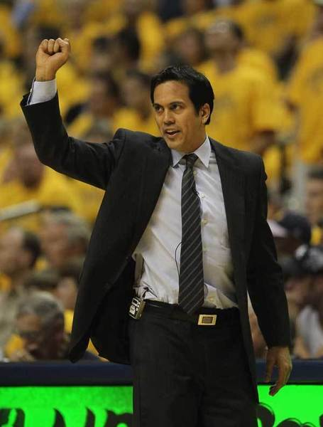 Head coach Erik Spoelstra of the Miami Heat calls a play against the Indiana Pacers in Game Three of the Eastern Conference Semifinals in the 2012 NBA Playoffs at Bankers Life Fieldhouse on May 17, 2012 in Indianapolis, Indiana. The Pacers defeated the Heat 94-75.