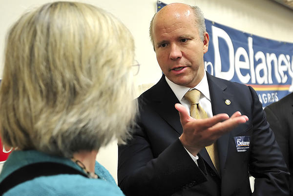John Delaney, Democratic candidate for Maryland's 6th district in the U.S. House of Representatives, speaks to Washington County School Board member Donna Brightman during the Jefferson-Jackson dinner at the American Legion Clopper-Michael Post 10 on May 17.