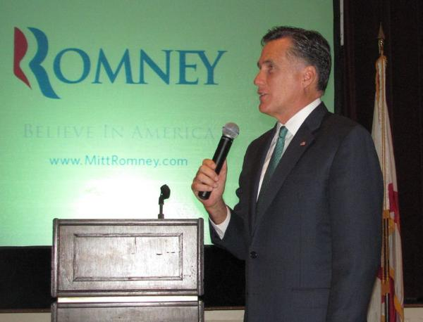 Mitt Romney speaks to supporters at fundraiser in Boca Raton.