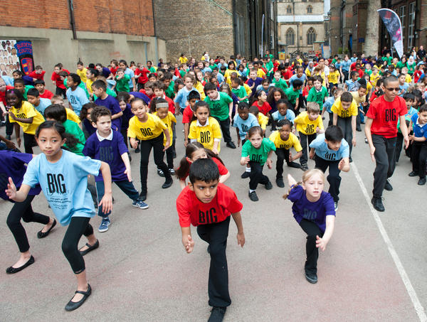 Burdett Coutts Primary School pupils join over half a million children in 53 countries for Big Dance world record attempt  on May 18, 2012 in London, England.