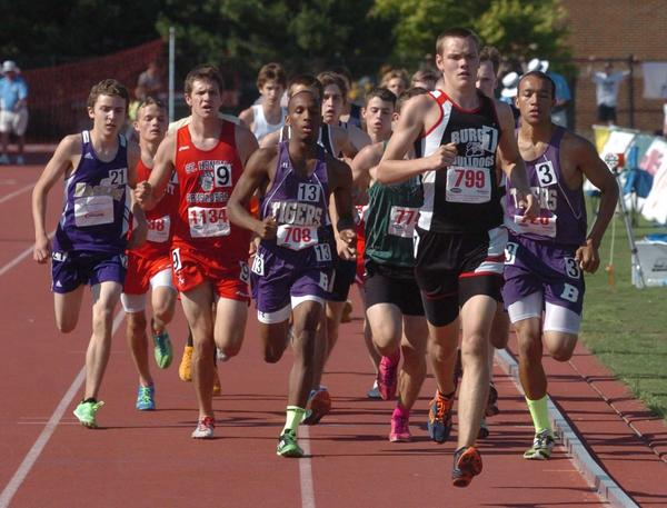 Alex Beckerson (799) of Burgin runs with the pack early in the Class A boys 1,600-meter run Thursday at the KHSAA State Track & Field Championships. Beckerson finished third.