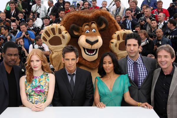 "US actor Chris Rock, US actress Jessica Chastain, US actor Ben Stiller, US actress Jada Pinkett Smith, US actor David Schwimmer and Canadian actor  Martin Short pose during the photocall of ""Madagascar 3 Europe's Most Wanted"""