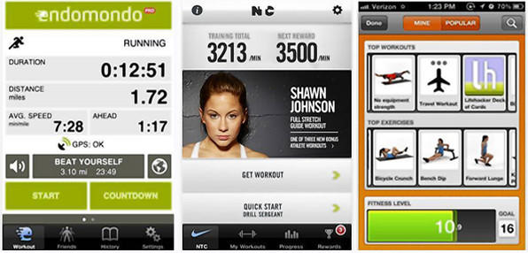 Fitness apps for your smartphone track progress and teach users new moves. From left: Endomondo Pro, Nike Training Club and Fleetly.