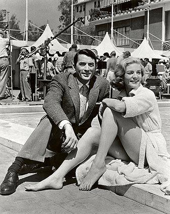 "Gregory Peck and Lauren Bacall are seen while shooting the film ""Designing Woman."""
