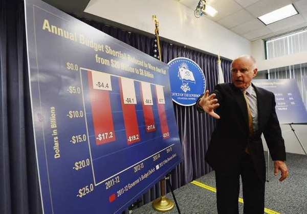 Gov. Jerry Brown speaks about the state budget on May 14. California's $16-billion budget deficit was this week's most-discussed topic among Times letter writers.