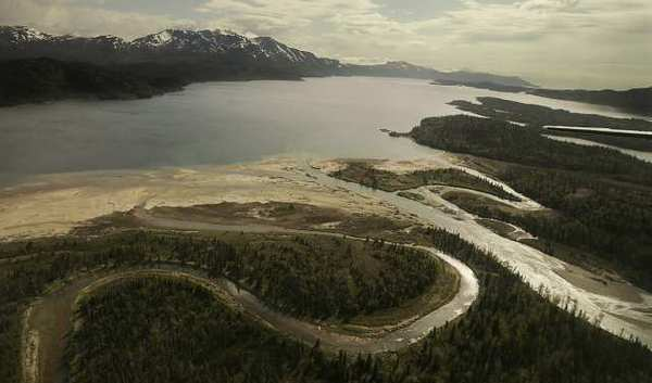 The Pebble mine site lies high in the watershed above Lake Iliamna, pictured, and Bristol Bay, one of the world's richest salmon fisheries.