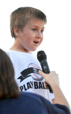 "The ""Play Ball Kid"" starts the basebal game between the IronPigs and the Indians at Coca-Cola Park on Friday."