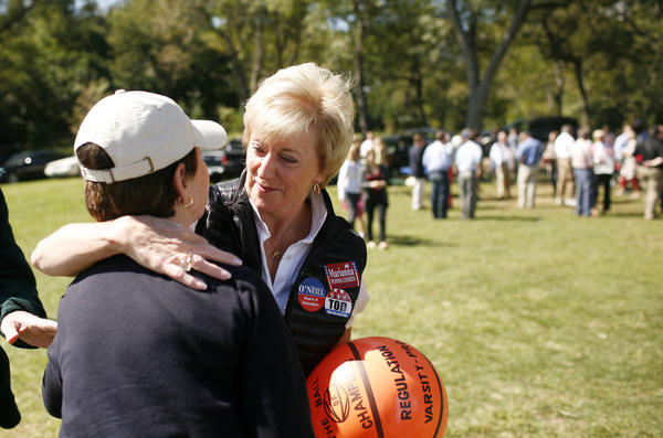 The Greenwich Republican town committee held its 80th annual clambake fundraiser on Sunday. Linda McMahon who might aim for the GOP nomination for Joe Lieberman's U.S. Senate seat talks with a woman at the event.