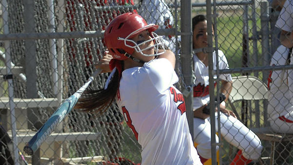 Imperial High's Erica Lopez connects for a single against Frances Parker High in the first round of the CIF-San Diego Section Division IV playoffs Friday in Imperial.