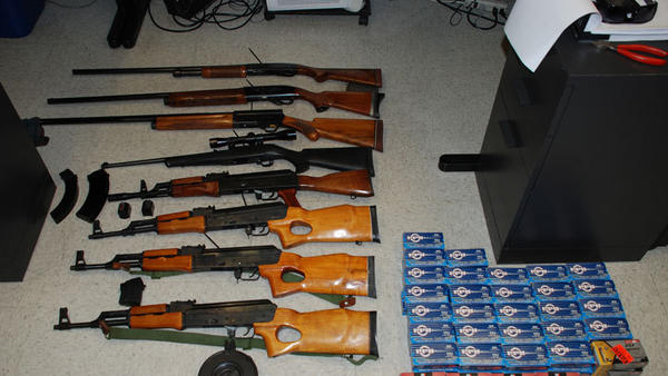 A number of weapons that included four AK-47 assault rifles and rounds of ammunition were put on display by Calexico police following their discovery Thursday inside an unattended Ford Explorer found at the driveway of the Denny's restaurant on Cole Road.