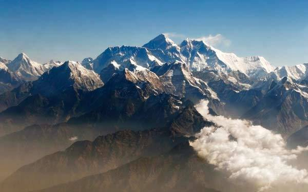 Mount Everest and other peaks of the Himalayan range are seen from air during a mountain flight from Kathmandu.