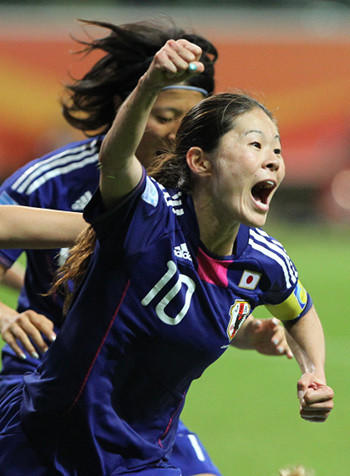 Homare Sawa celebrating the overtime goal that send the 2011 World Cup final against the U.S. to penalty kicks.