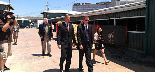 Gov. Martin O'Malley on tour of stables with Tom Chaukkas, president of Maryland Jockey Club.