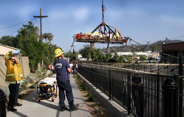 An elderly man was rescued from a wash in Burbank Friday afternoon.