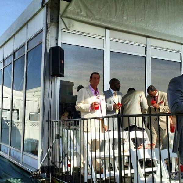 Snapped this frame of Steve Bisciotti & Ray Lewis at #preakness