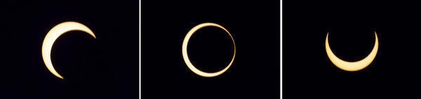 The various stages of an annular solar eclipse seen over Anuradhapura, Sri Lanka.