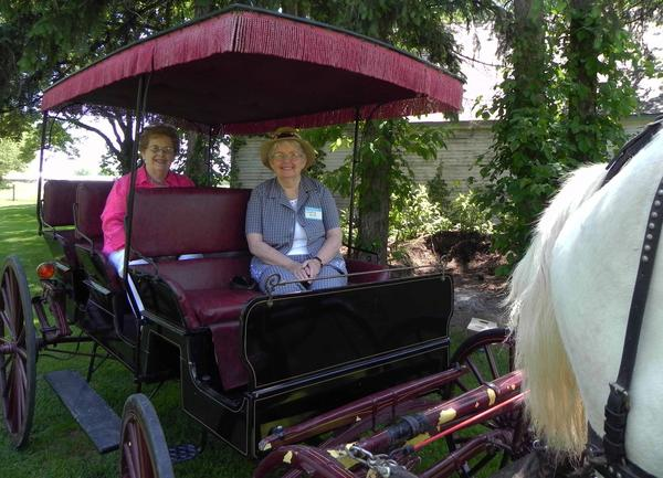 Antietam Historical Association members Dorothy Kirk, front, and Shirley Zeigler take a carriage ride during Saturday's Spring Garden Fest at Antietam Farm on Lyons Road in Waynesboro to benefit the historical association.