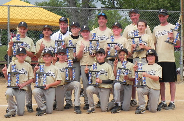 The 11U Frederick Hustlers won the Hitting Bombs for Moms baseball tournament on Mother's Day Weekend (May 11-13) in New Oxford, Pa. The Hustlers went 5-0 and defeated the Chester County (Pa.) BobCats 10-5 in the championship game. From left to right: Front row -- Spencer Shives, Bradley Hobbs, Luke Pryor, Juastin Itnyre, Isaiah Trite and Cole Lee. Back row --  Christopher Chaney, Aaron Jahnke, Isaac Blickenstaff, Rob Soper, Travis Tasker and Travis Rinker. Coaches -- Barry Blickenstaff, Mark Chaney, Ray Hobbs and manager Rocky Pryor.