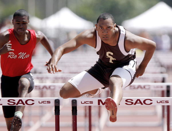 St. Francis High School's James Knowles participates in the CIF SS Track & Field Divisional Finals Div. 3 Boys 110 Meter High Hurdles race at Mt. San Antonio College in Walnut on Saturday, May 19, 2012.