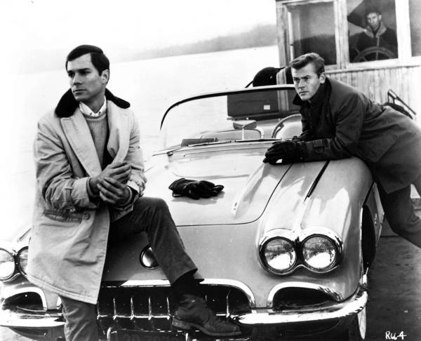 "George Maharis, left, and Martin Milner with their Corvette in ""Route 66."""