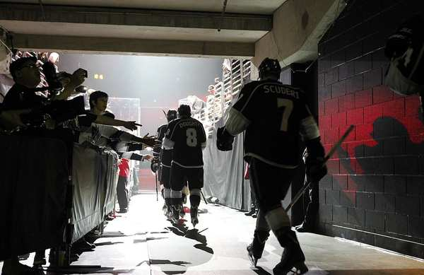 Kings players head to the ice moments before taking on the Phoenix Coyotes in Game 4 of the NHL Western Conference finals on Sunday afternoon at Staples Center.