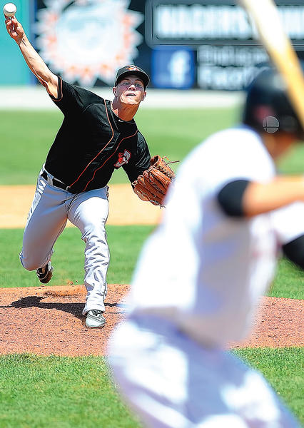 Delmarva's Dylan Bundy, the Baltimore Orioles' top pitching prospect and first selection in the 2011 draft, delivers a pitch against the Hagerstown Suns on Sunday afternoon at Municipal Stadium.