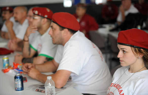 Easton hosts the state convention of Guardian Angels at the Community Center on Washington St. in Easton on Sunday. Here, members listen to speakers.