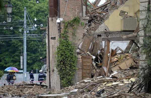 A collapsed church in San Felice sul Panaro, northern Italy, following this weekend's earthquake.