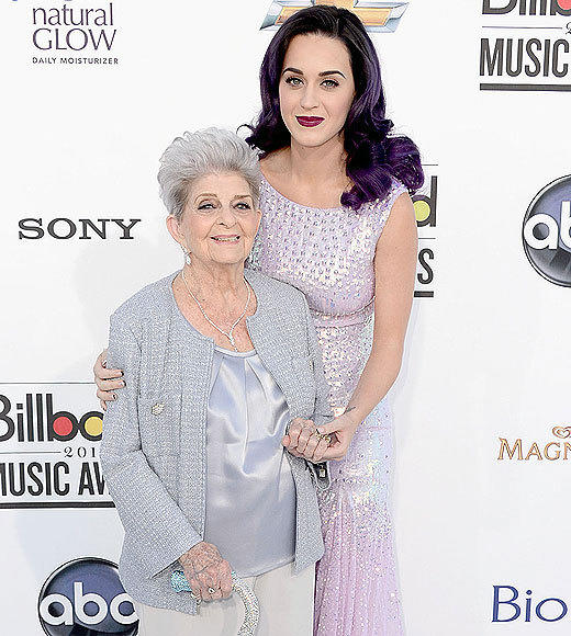 Billboard Music Awards 2012: Best and worst moments: Katy Perry may be newly unmarried and possibly dating a British model, but when it comes to the Billboard Awards she only had one person on her must-invite list -- her 91-year-old grandma, who she called out as a real rock star from the stage after winning the Spotlight Award.  -- Liz Kelly Nelson, Zap2it