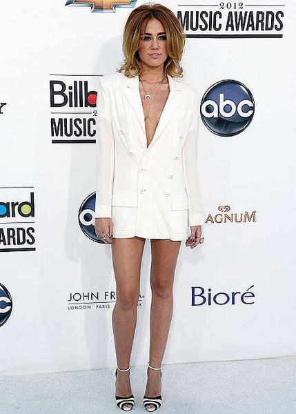 Billboard Music Awards 2012: Best and worst moments: Or maybe Miley Cyrus spilled something on her shirt (and pants) before she walked the red carpet, so she had to take them off and go with just the jacket? We know its hot in Las Vegas, but were pretty sure the MGM Grand Garden Arena is air-conditioned.  -- Rick Porter, Zap2it