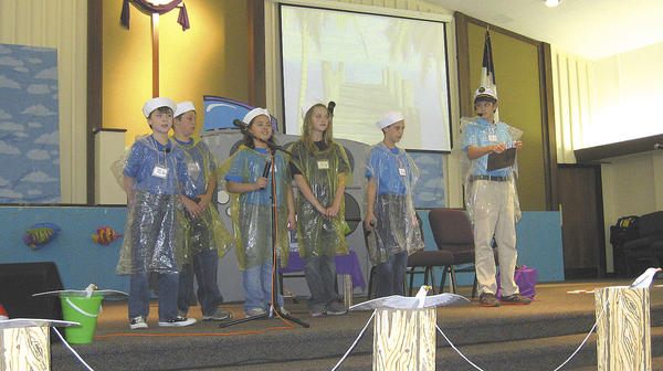 From left, Broadfording Christian Academy students Jon Smith, Cameron Wallman, Sierra Reyes, Grace Fogle, Alex Kehr and Billy Lohr perform Under Gods Sea in 3-D.
