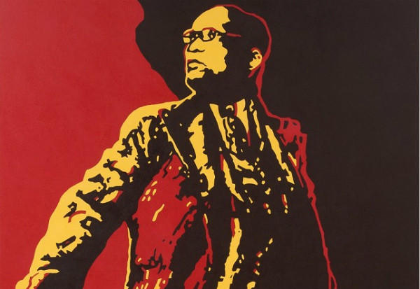 "A detail of ""The Spear,"" a painting by Brett Murray that depicts South African president Jacob Zuma."