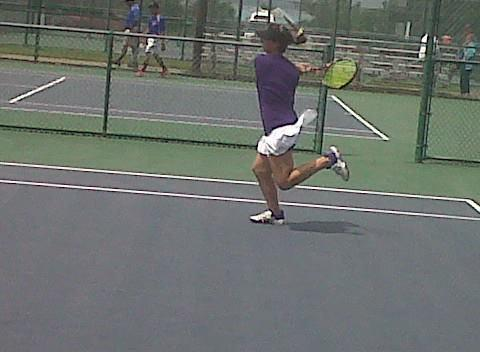 Menchville senior Claire Spencer, a two-time Peninsula District singles tournament champion, beat Granby's Melody Houchins 6-0, 6-4 at Huntington Park in an Eastern Region quarterfinal before losing to First Colonial star Victoria Olivarez.