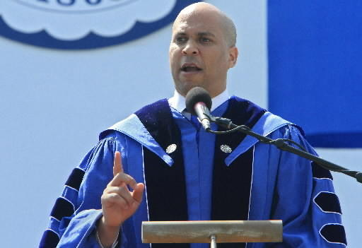 Cory Booker speaks at Hampton University on Sunday, May 13.