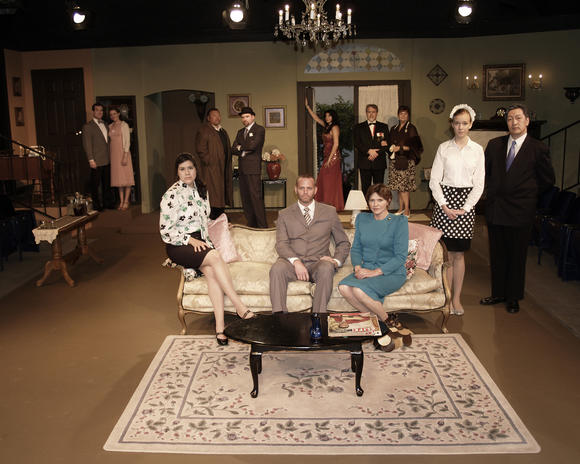 "The cast of ""The Hollow"" at Westminster Community Theater. Standing, from left to right: Jeff June, Teresa June, Tony Salazar, Rick Reischman, Laura Flores, Sherman Wiggs, Beth Titus, Tiffani Hockings and John C. Park. Sitting, from left to right: Monica Robles, Scott Finn and Kimberly Wooldridge."