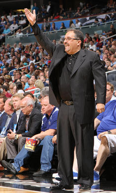 Orlando head coach Stan Van Gundy coaches the Magic to a 102-95 victory over the Charlotte Bobcats in Orlando, Fla. Wednesday, April 25, 2012.