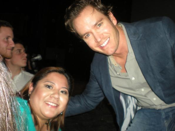 "Actor Mark-Paul Gosselaar poses with a fan during a screening of TNT's ""Franklin & Bash"" at The Vic May 17, 2012."