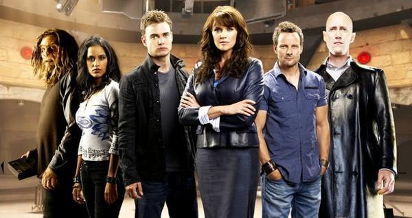 """Christopher Heyerdahl (left and right), Agam Darshi, Robin Dunne, Amanda Tapping and Ryan Robbins of """"Sanctuary."""""""