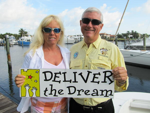 "Lisa Thornhill, left, and Rick Moore promote Deliver the Dream's ""Fishing for the Dream"" family fishing tournament, which takes place June 1-2 at The Lighthouse Point Yacht and Racquet Club."