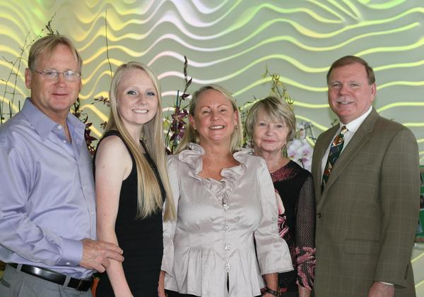 "Jimmy Andrews, left, Andrea Lucas, Patti Lucas, Barbara Andrews and Robert Lucas at the Cystic Fibrosis Gold Coast Guild's ""Hope in Bloom"" installation and awards luncheon, which took place at B Ocean Fort Lauderdale hotel."
