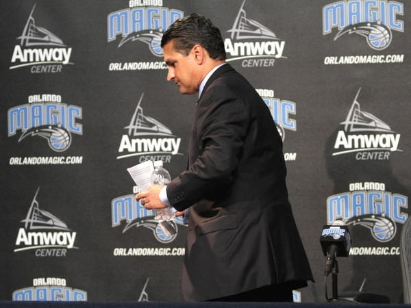 Orlando Magic CEO Alex Martins announces the firing of head coach Stan Van Gundy, and the departure of general manager Otis Smith.