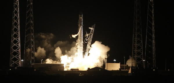 A Falcon 9 rocket carrying the Dragon spacecraft blasted off at 3:44 a.m. on Tuesday from Complex 40 at Cape Canaveral Air Force Station. SpaceX is the first private company to build a rocket for a mission to the International Space Station.
