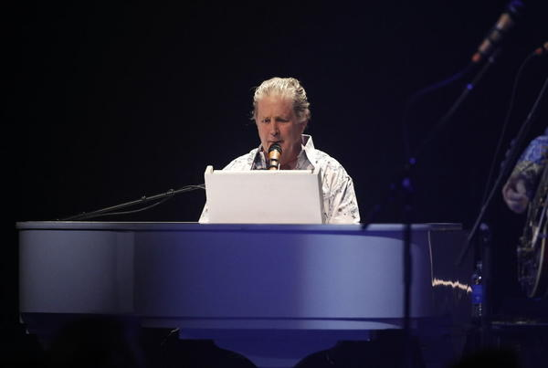 Brian Wilson and the Beach Boys performing at the Chicago Theatre on Monday.