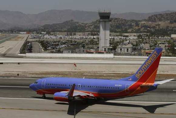 A Southwest jet taxis for take off at the Bob Hope Airport in Burbank in 2009.