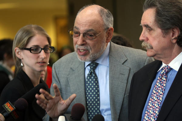 Attorneys Sarah Gelsomino, Michael Deutsch, and Thomas Durkin, from left, who represent Brian Church, Jared Chase and Brent Batterly, talk about their clients. Church, Chase and Batterly are accused of attempting to make Molotov cocktails to use during NATO Summit protests.