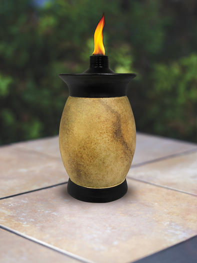 Tiki torches come in tabletop models, too.