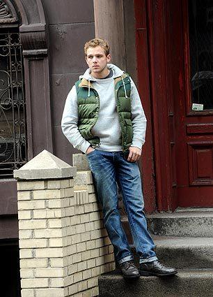 "Max Thieriot on location for the ""Untitled Roland Emmerich Project"" in New York City."