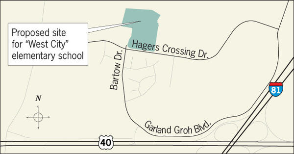 "The Washington County Board of Commissioners on Tuesday approved the purchase of a 16.5-acre tract in the Hager's Crossing housing development for a new ""West City"" elementary school that could replace Conococheague and Winter Street elementary schools."