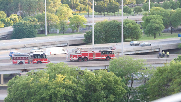 Chicago Fire Department trucks on the scene of a fatal motorcylce crash this evening at the circle interchange between the Eisenhower and Dan Ryan expressways.