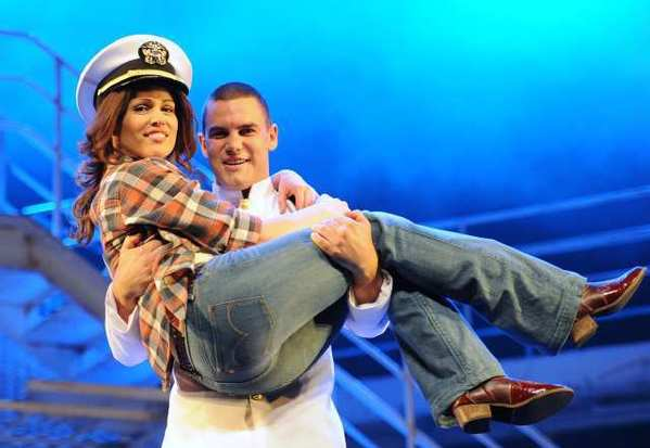 "Amanda Harrison and Ben Mingay in a scene from the stage musical ""An Officer and a Gentleman"" at the Lyric Theatre in Sydney, Australia."